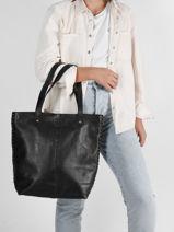 Shopping Bag Rock Leather Basilic pepper Black rock BROK02-vue-porte
