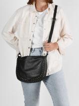 Shoulder Bag Rock Leather Basilic pepper Black rock BROK03-vue-porte