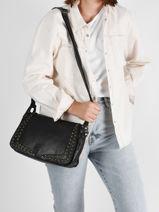 Shoulder Bag Rock Leather Basilic pepper Black rock BROK15-vue-porte