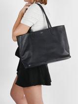 Large Leather Louise Tote Bag Le tanneur Black louise TLOS1670-vue-porte