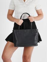 Small Leather Louise Tote Bag Le tanneur Black louise TLOS1650-vue-porte