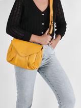 Small Leather Suzon Crossbody Bag Paul marius Yellow vintage M-vue-porte