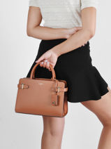 Medium Leather Emily Handbag Le tanneur Brown emily TEMI1614-vue-porte