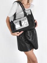 Leather Rive Gauche Argento Shoulder Bag Paul marius Black argento RIVGMARG-vue-porte