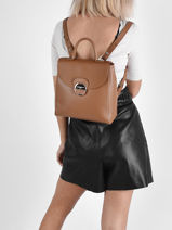 Leather Foulonné Pia Backpack Lancaster Brown foulonne pia 66-vue-porte