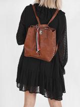 Backpack Desigual Brown derby verni 21WAKP09-vue-porte