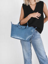 Longchamp Le pliage cuir croco Handbag Blue-vue-porte