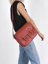 Longchamp Le pliage cuir Besaces Rouge-vue-porte