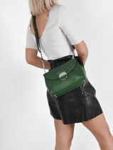 Leather Crossbody Bag Foulonné Pia Lancaster Green foulonne pia 60-vue-porte