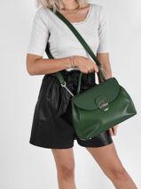 Leather Top-handle Foulonné Pia Lancaster Green foulonne pia 63-vue-porte