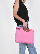 Longchamp Le pliage Briefcase Pink-vue-porte