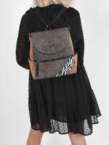 Backpack Desigual Gray derby verni 21WAKP36-vue-porte