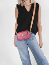 Leather Willow Color Block Crossbody Bag Coach Pink willow C0695-vue-porte