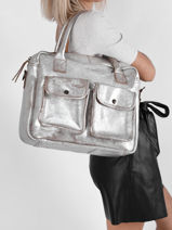 Leather Dandy Argento Business Bag Paul marius Silver argento DANDYARG-vue-porte