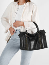 Shoulder Bag Rock Leather Basilic pepper Black rock BROK22-vue-porte