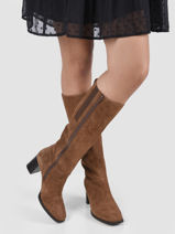 High suede leather boots-GABOR-vue-porte