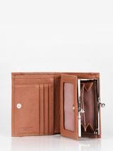 Wallet Leather Lancaster Brown foulonne pia 31-vue-porte