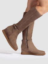 High boots jeyon in leather-UNISA-vue-porte