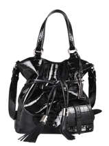 Medium Leather Premier Flirt Croco Bucket Bag Lancel Black premier flirt A11753