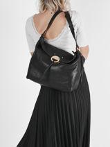 Leather Hobo Shoulder Bag Vanessa bruno Black hobo 33V40811-vue-porte