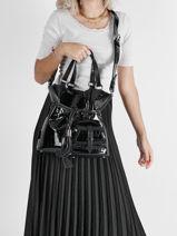 Medium Leather Premier Flirt Croco Bucket Bag Lancel Black premier flirt A11753-vue-porte