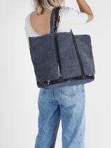 Medium ++ Cabas Tote Bag Linnen Sequins Vanessa bruno Blue cabas 31V40315-vue-porte