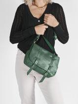 Leather New Glit Crossbody Bag Mila louise Green new glit 3017NG-vue-porte