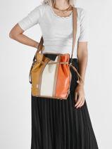 Leather Elsa Tricolore Bucket Bag Lancel Orange elsa A11759-vue-porte