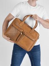 Leather Vintage Worker Business Bag Burkely Brown vintage 22-vue-porte