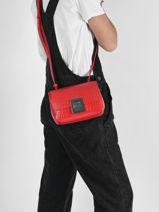 Leather Amelia Croco Crossbody Bag Lacoste Red amelia NF3592TU-vue-porte