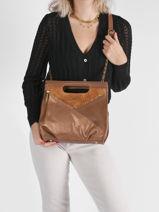 Leather Vintage Crossbody Bag Mila louise Gold vintage 3492NGVT-vue-porte