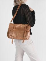 Leather Bernie Messenger Bag Mila louise Gold vintage 3024NG-vue-porte