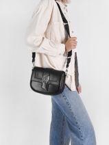 Leather K/saddle Shoulder Bag Karl lagerfeld Black k saddle 216W3037-vue-porte