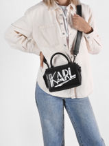 Leather K/ikon Mini Crossbody Bag Karl lagerfeld Black k ikon 216W3007-vue-porte