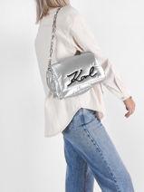 Leather K/signature Soft Shoulder Bag Karl lagerfeld Gray k signature 216W3064-vue-porte