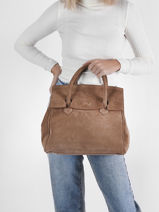 Suede Leather Clara Handbag Nathan baume Brown nathan 2S-vue-porte