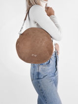 Suede Leather Anna Shoulder Bag Nathan baume Brown nathan 9S-vue-porte
