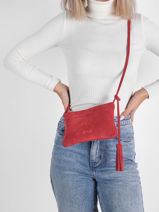Suede Leather Jesse Crossbody Bag Nathan baume Red nathan 17S-vue-porte