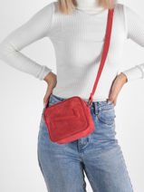 Suede Leather Chelsea Crossbody Bag Nathan baume Red n city 50S-vue-porte