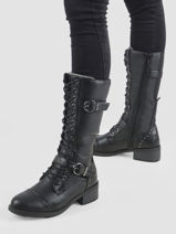 Leather buckle boots-MUSTANG-vue-porte