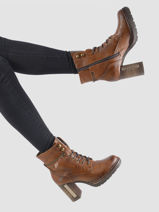 Leather ankle boots with heel-MUSTANG-vue-porte