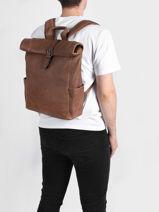 Leather Spider Backpack 2 Compartments Etrier Brown spider ESPI8102-vue-porte