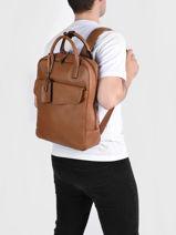 Leather Flandres Business Backpack Etrier Brown flandres EFLA8271-vue-porte