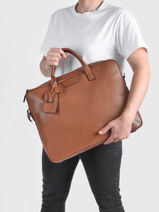 Leather Flandres Briefcase 2 Compartments Etrier Brown flandres EFLA8262-vue-porte