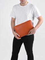 "Leather 13"" Flandres Laptop Cover Etrier Orange flandres EFLA8833-vue-porte"