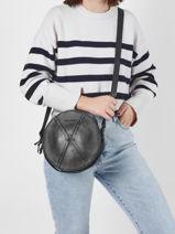 Leather Crossbody Bag Le Precieux Paul marius Black vintage PRECIEUX-vue-porte