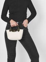 Longchamp Le pliage poudreuse Sacs porté main Blanc-vue-porte