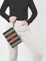 Longchamp Essential stripes Clutches Black-vue-porte