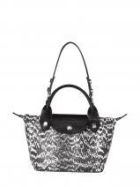 Longchamp Mini pliage cuir serpent d'eau Sacs porté main Noir