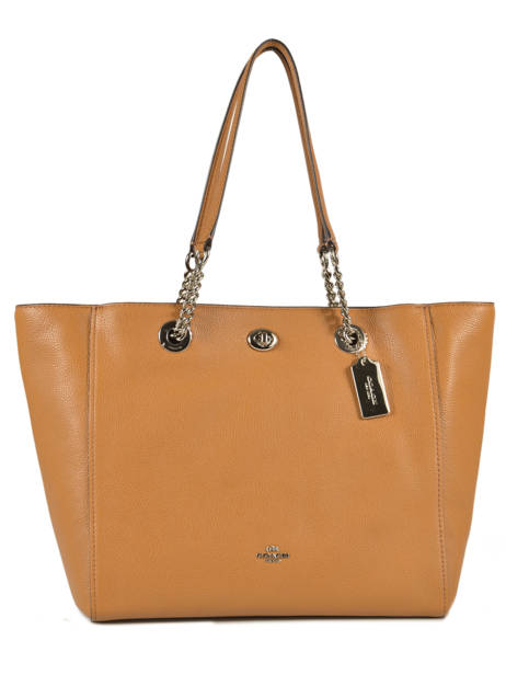Cabas Turnlock Chain Tote Cuir Coach Marron tote 56830